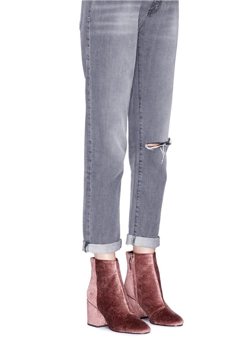 bedd6f93cec6 Lyst - Sam Edelman  taye  Floral Jacquard Velvet Ankle Boots in Pink