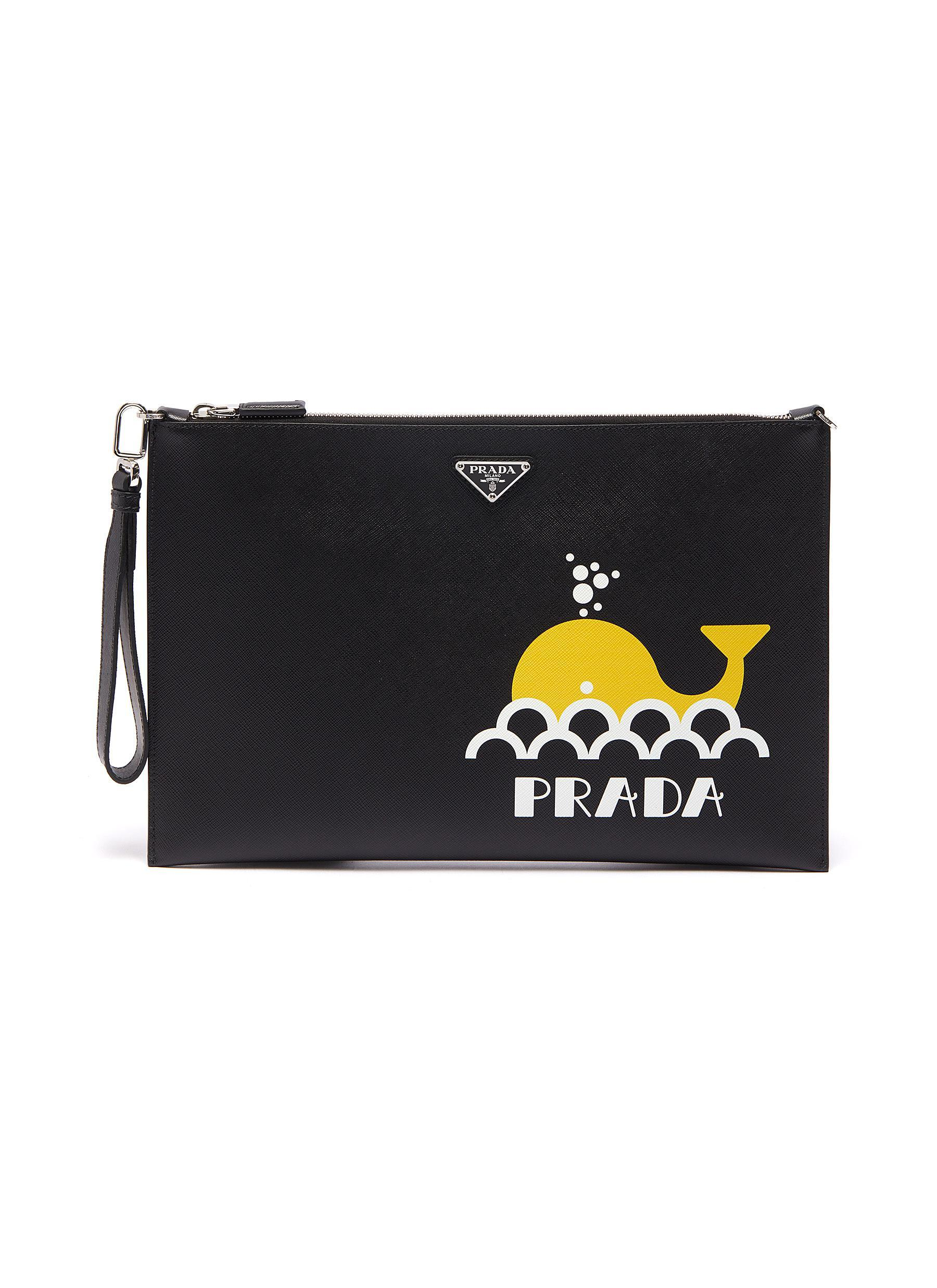 b11575a225 Lyst - Prada Logo Graphic Whale Print Saffiano Leather Pouch in ...