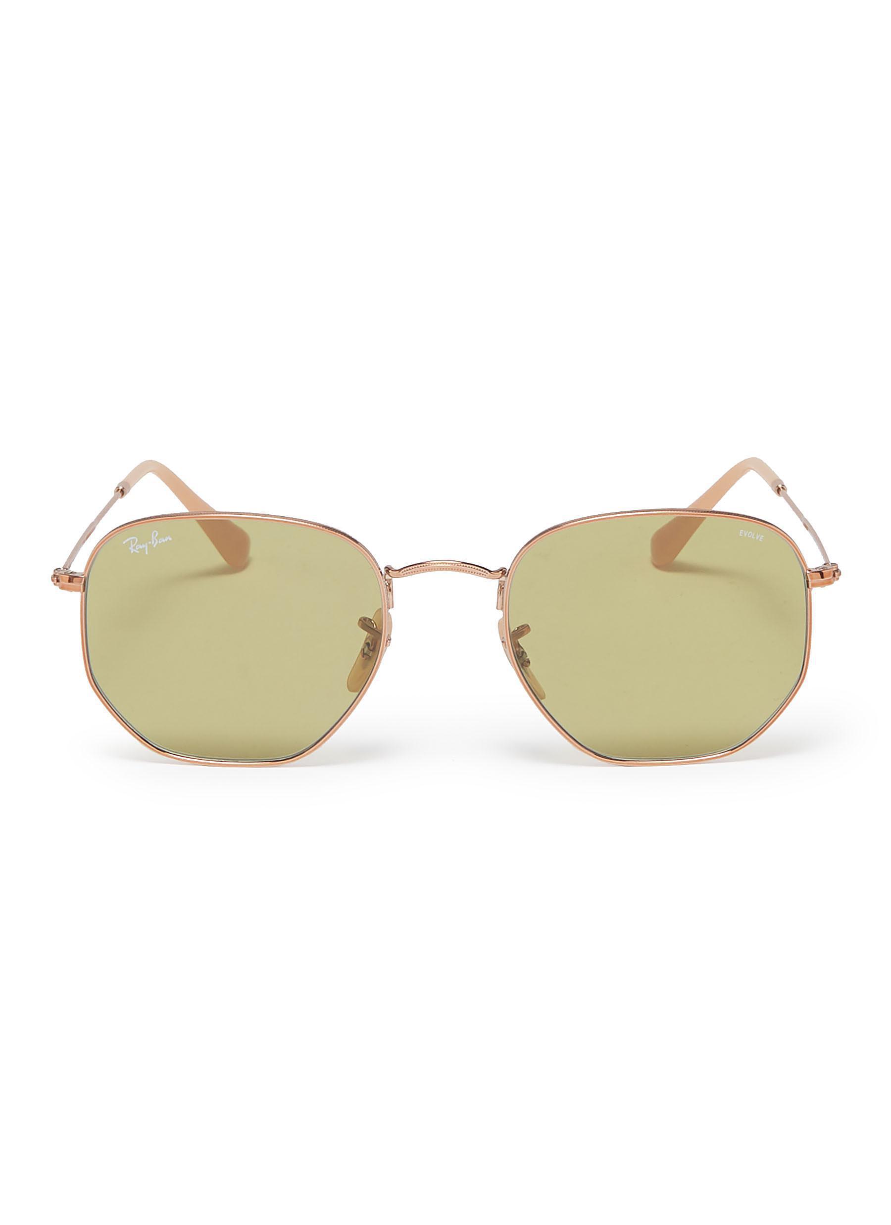 d6019bfaae Lyst - Ray-Ban  rb3548  Metal Hexagonal Frame Sunglasses in Metallic ...