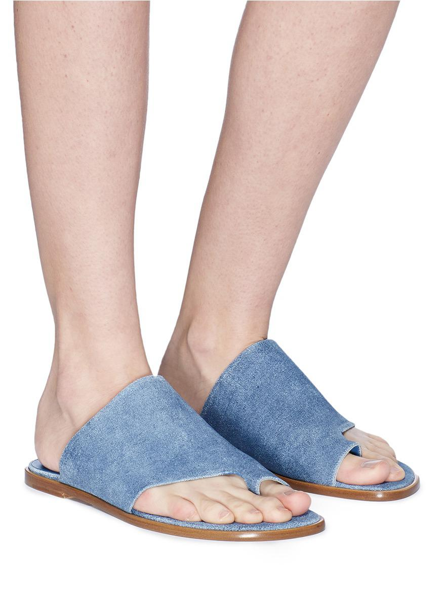 5699e9f46942 Lyst - Vince  edris  Toe Ring Suede Slide Sandals in Blue