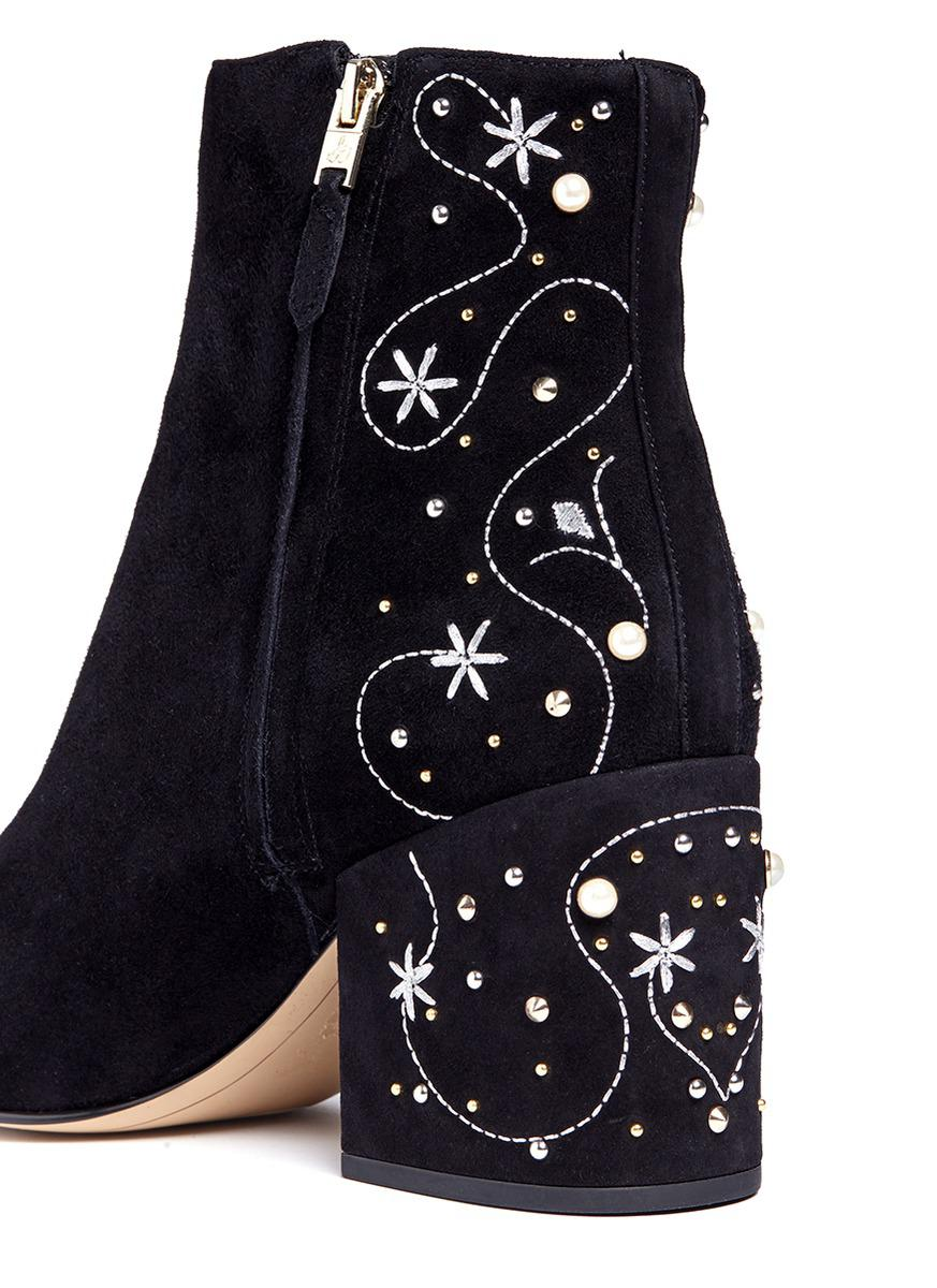 7cbb6fdd7c8f13 Lyst - Sam Edelman  taft  Embellished Floral Embroidered Suede Boots ...
