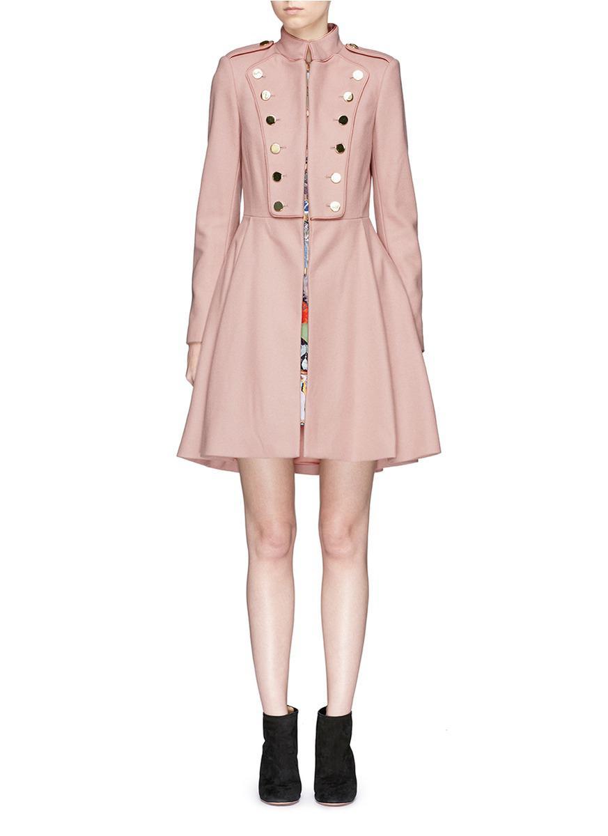 Alice   olivia 'rossi' Virgin Wool Blend Melton Military Coat in ...