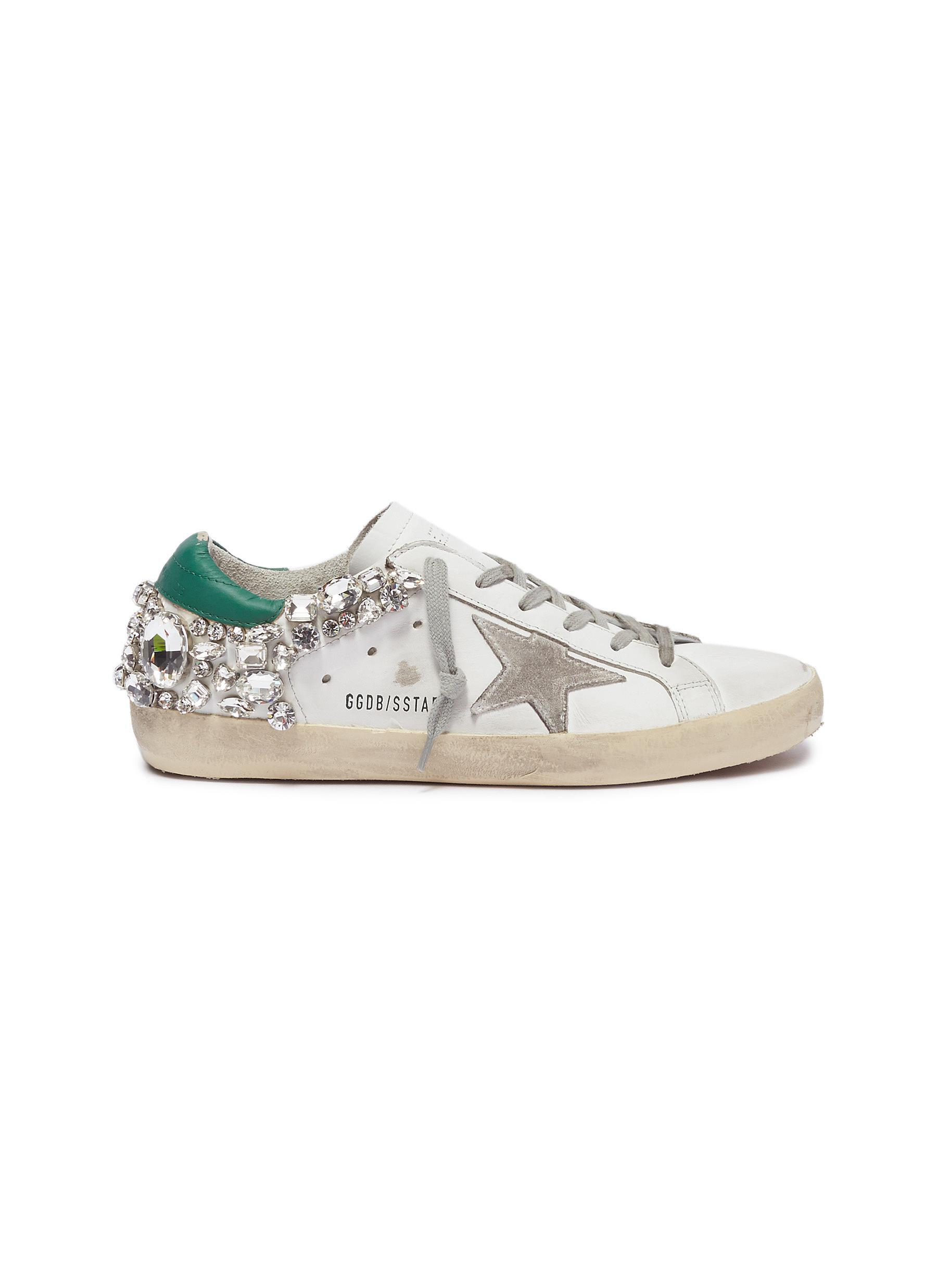 Golden Goose Deluxe Brand. Women's White 'superstar' Strass Leather Sneakers