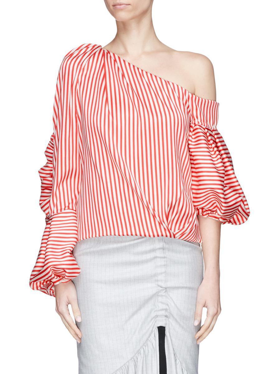 c02ad090b228c Lyst - Hellessy  hilda  Asymmetric Puff Sleeve One-shoulder Stripe ...