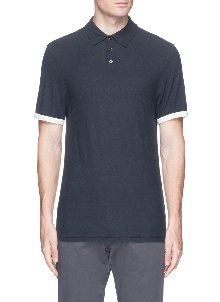 James Perse Colourblock Cuff Slub Cotton Linen Polo Shirt