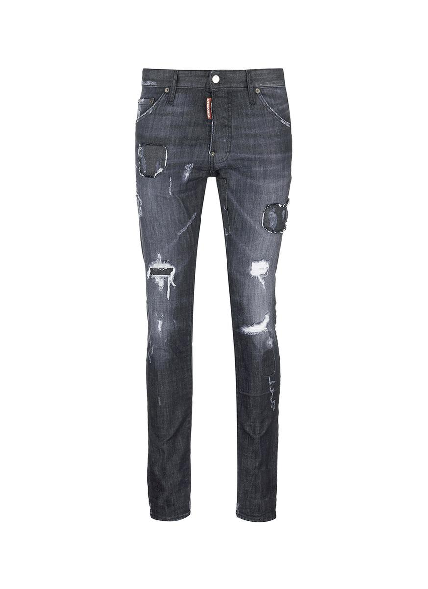 Dsquared² 'cool Guy' Ripped Skinny Jeans in Black for Men ...