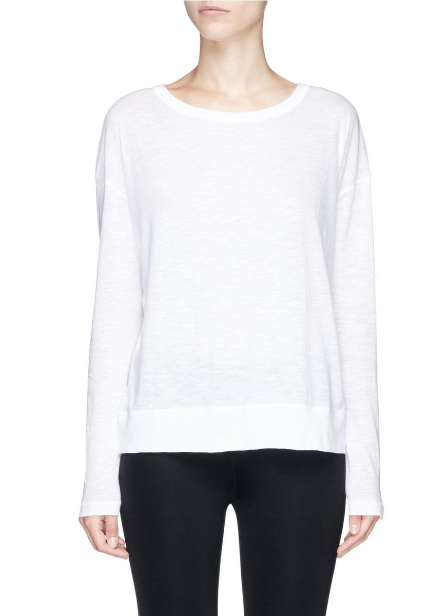 Vince slub pima cotton long sleeve t shirt in white lyst for Vince tee shirts sale