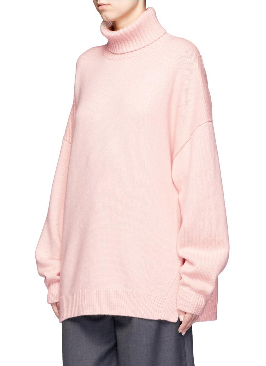 Lyst Tibi Oversized Cashmere Turtleneck Sweater In Pink