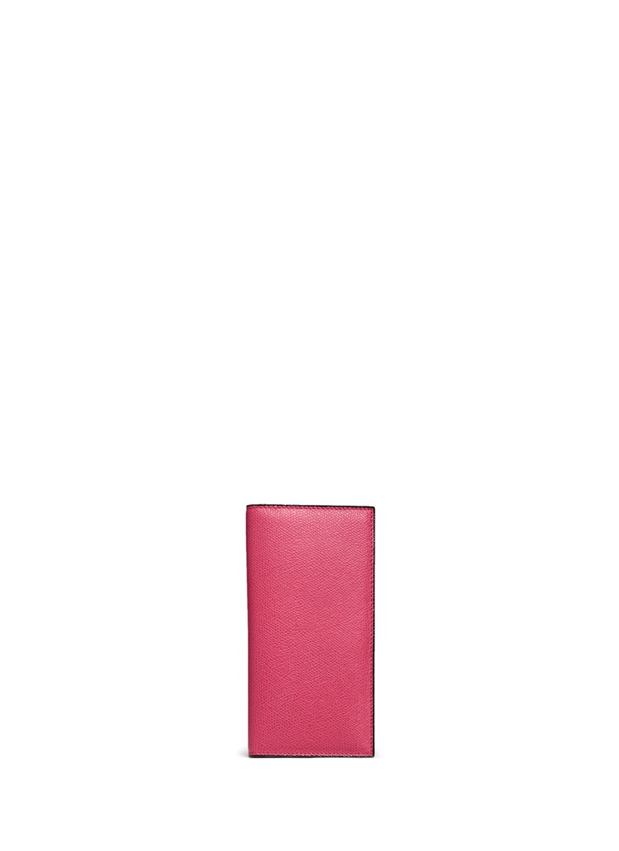 Valextra Leather Vertical Wallet in Pink