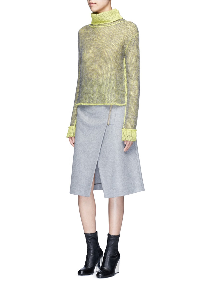 acne studios panna wrap front flannel pencil skirt in