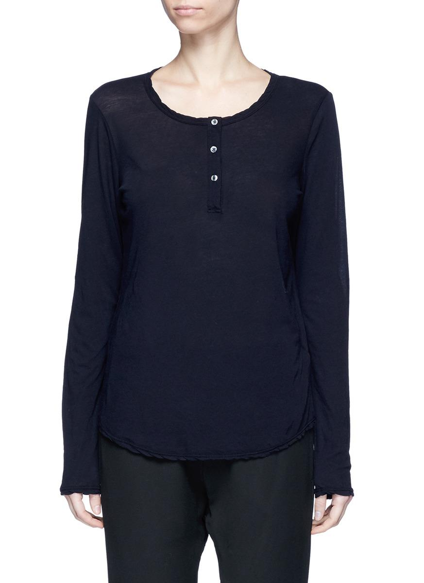 James Perse Cotton Jersey Henley Shirt In Black Lyst