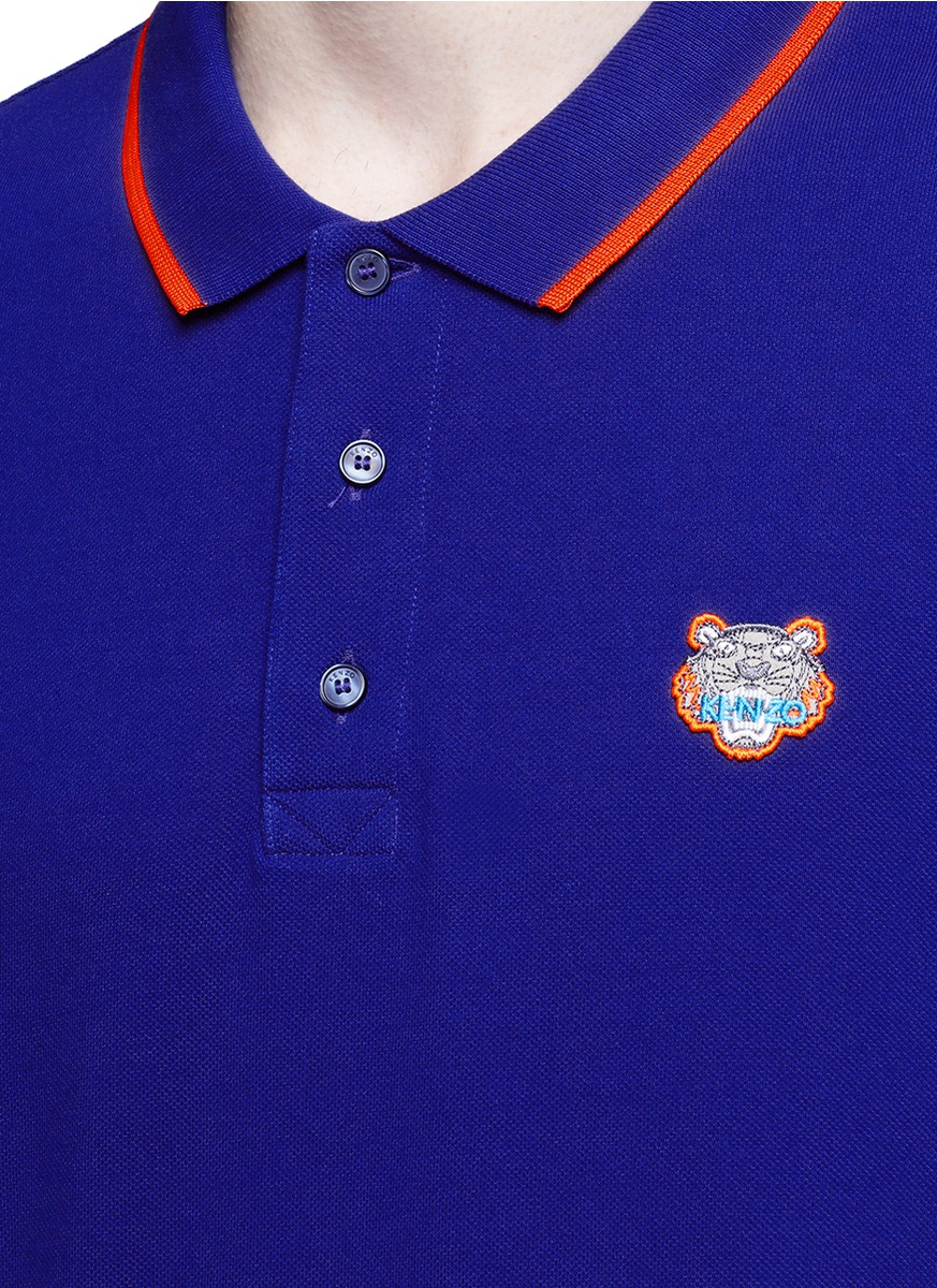 Kenzo tiger embroidered patch polo shirt in blue for men