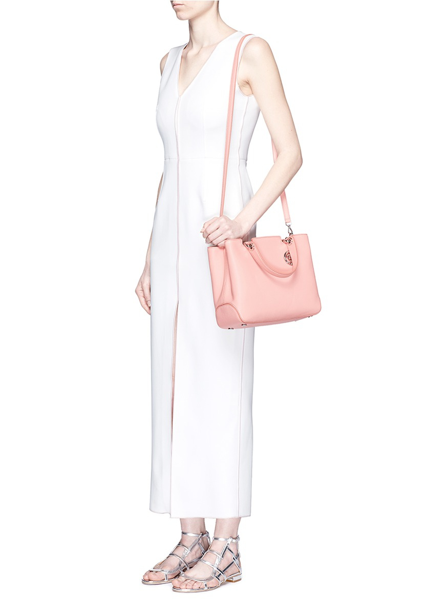 ad8450b60329 Lyst - Michael Kors  anabelle  Medium Leather Top Zip Tote in Pink