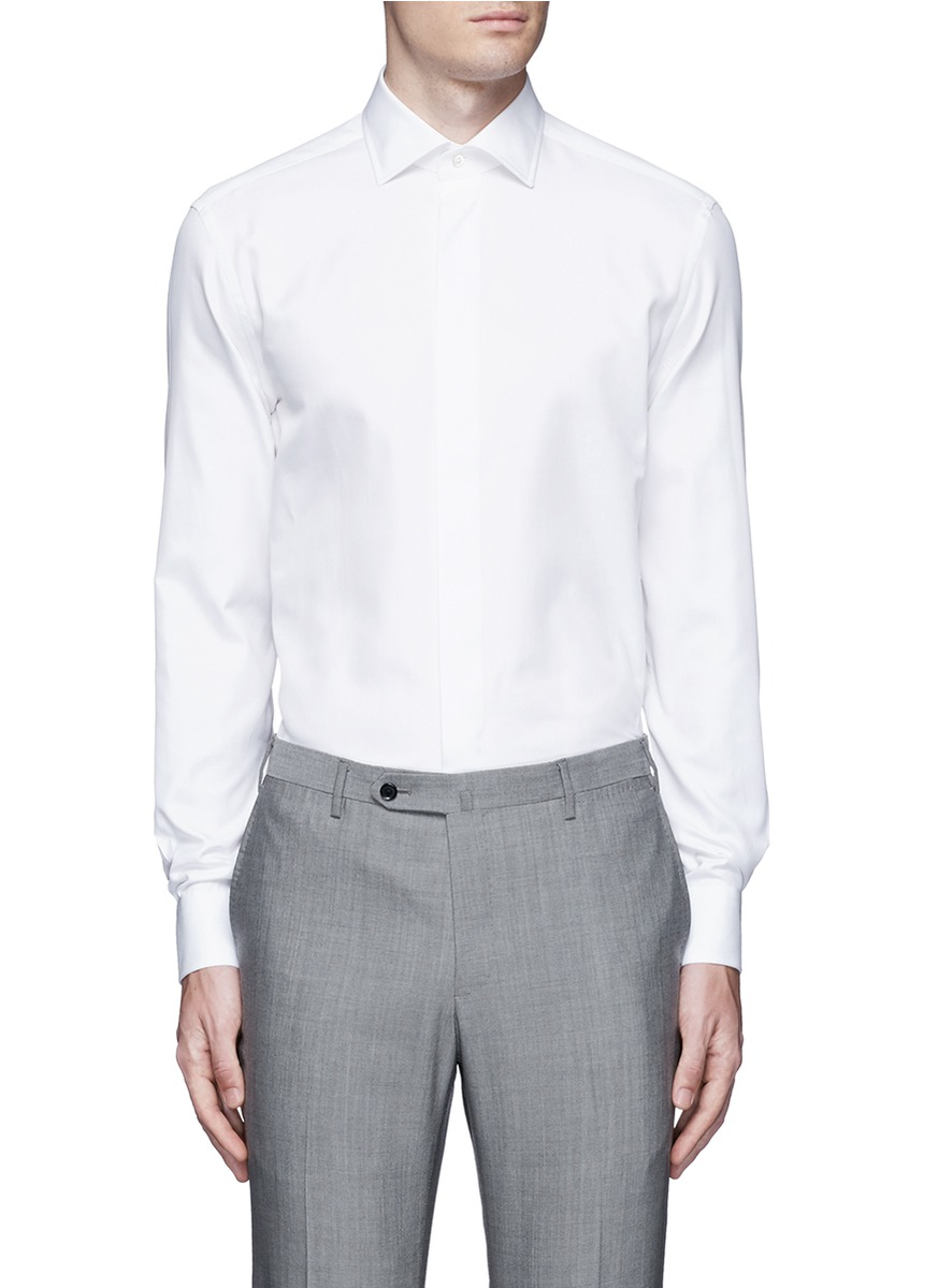 Armani Slim Fit Cotton Silk Tuxedo Shirt In White For Men