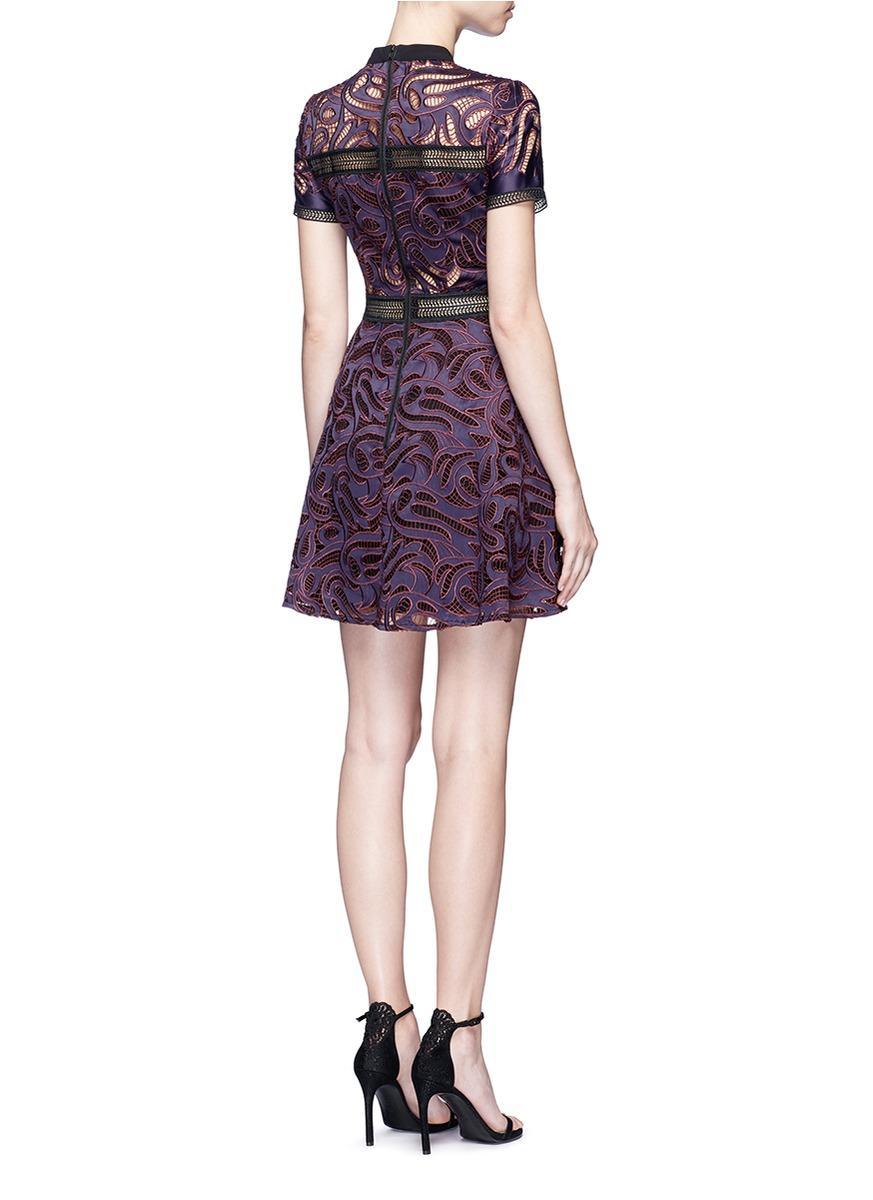 385c61b319120 Self-Portrait Eliza Guipure-lace Mini Dress in Purple - Lyst