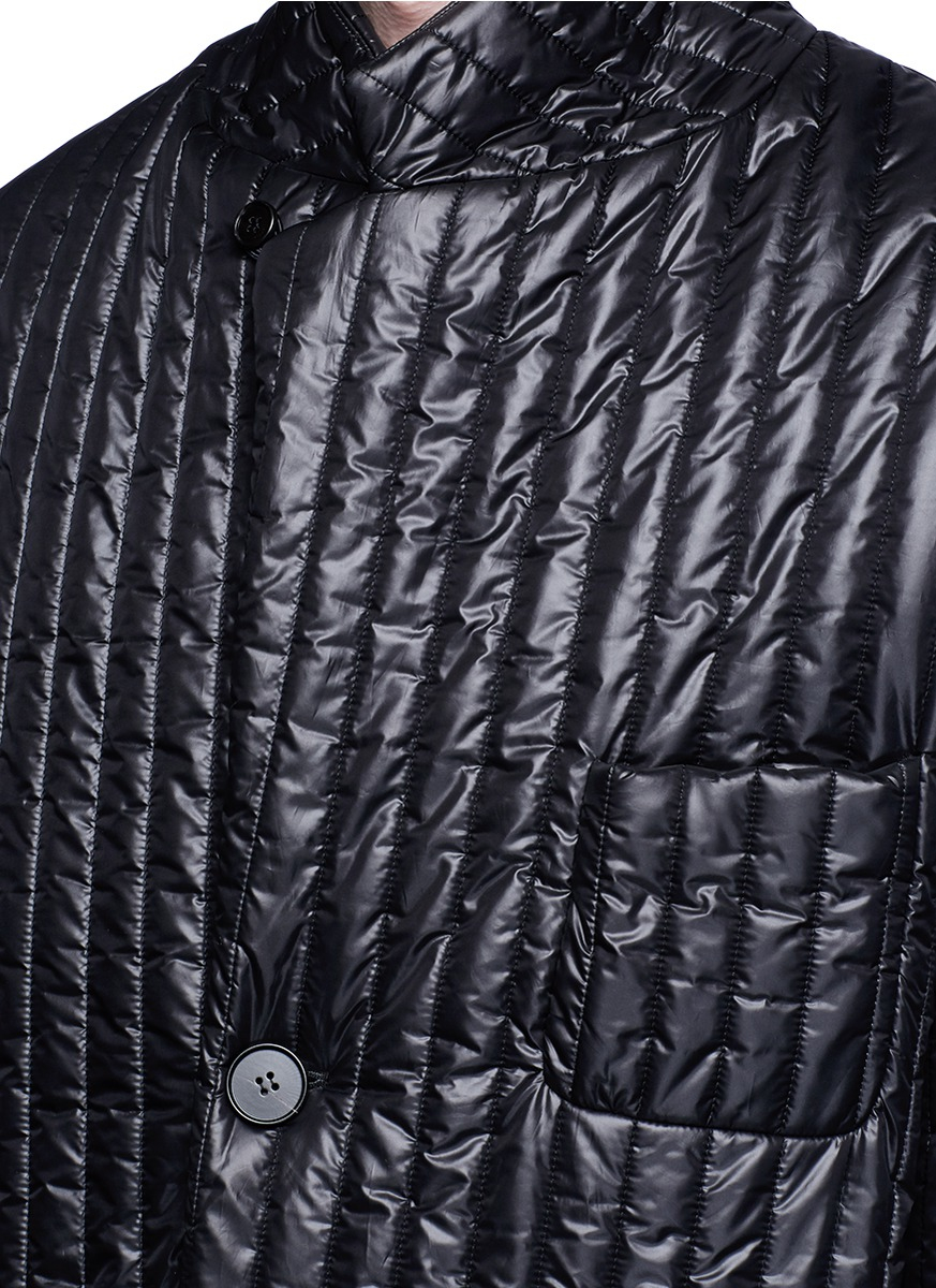 Maison margiela quilted tech fabric coat in black for men for Au maison fabric