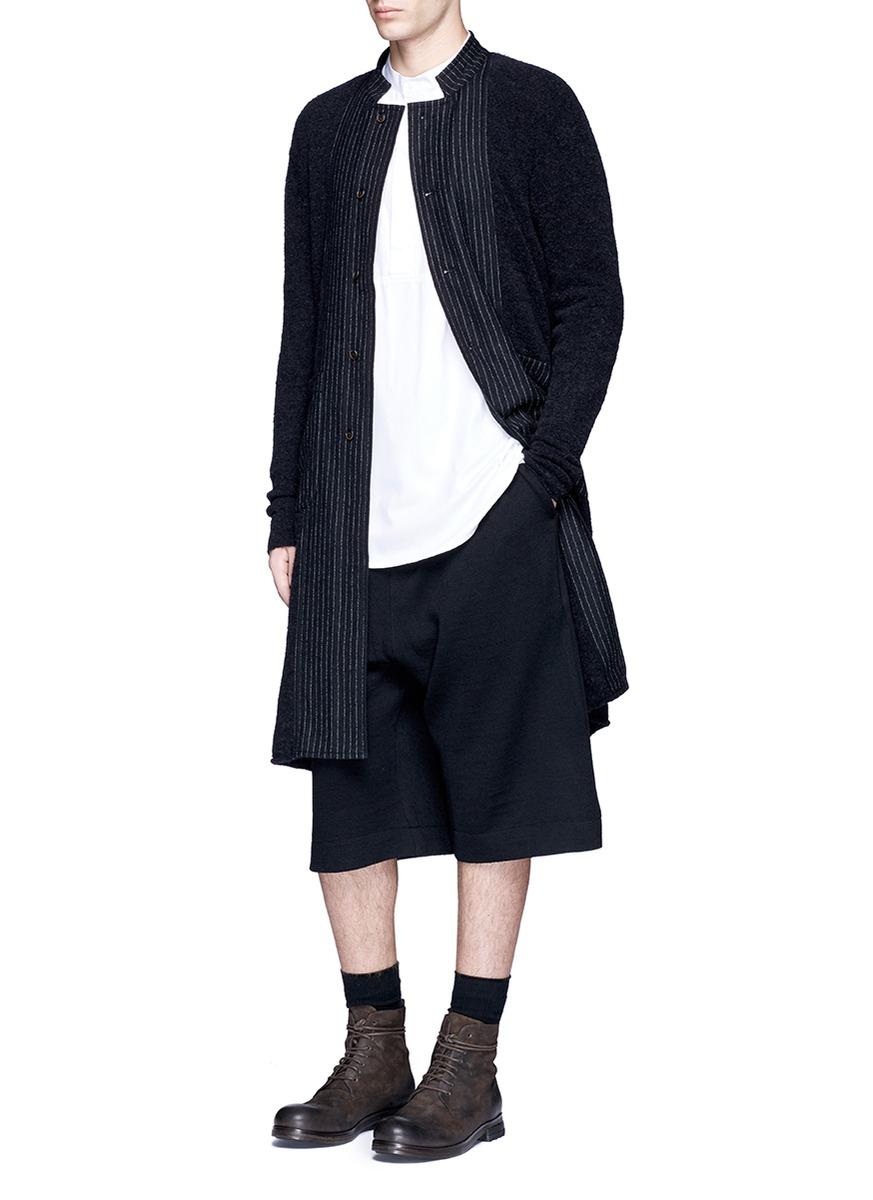 Uma wang Pinstripe Panel Long Coat in Black for Men