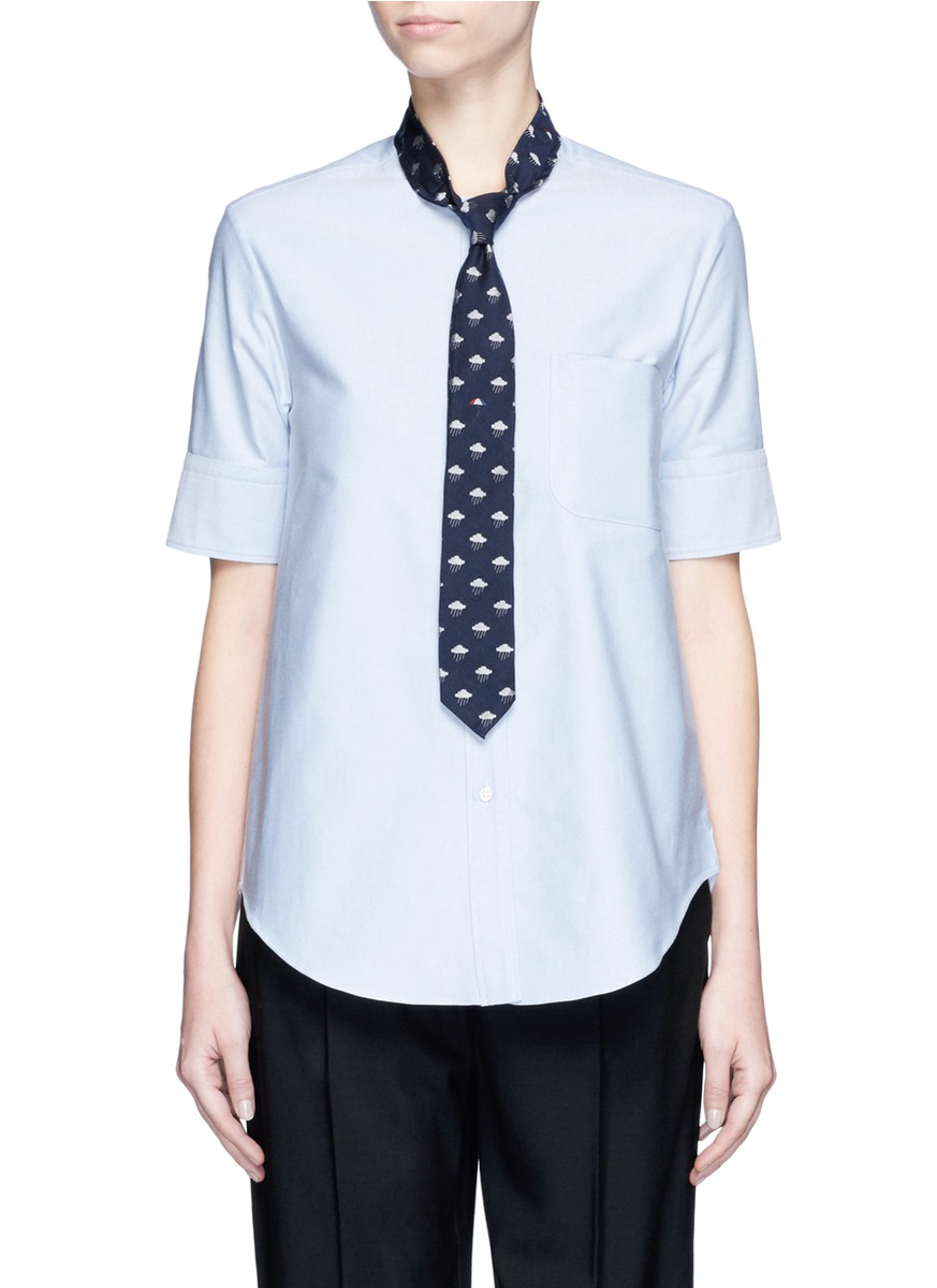 Lyst thom browne neck tie cotton oxford shirt in blue for Oxford shirt with tie