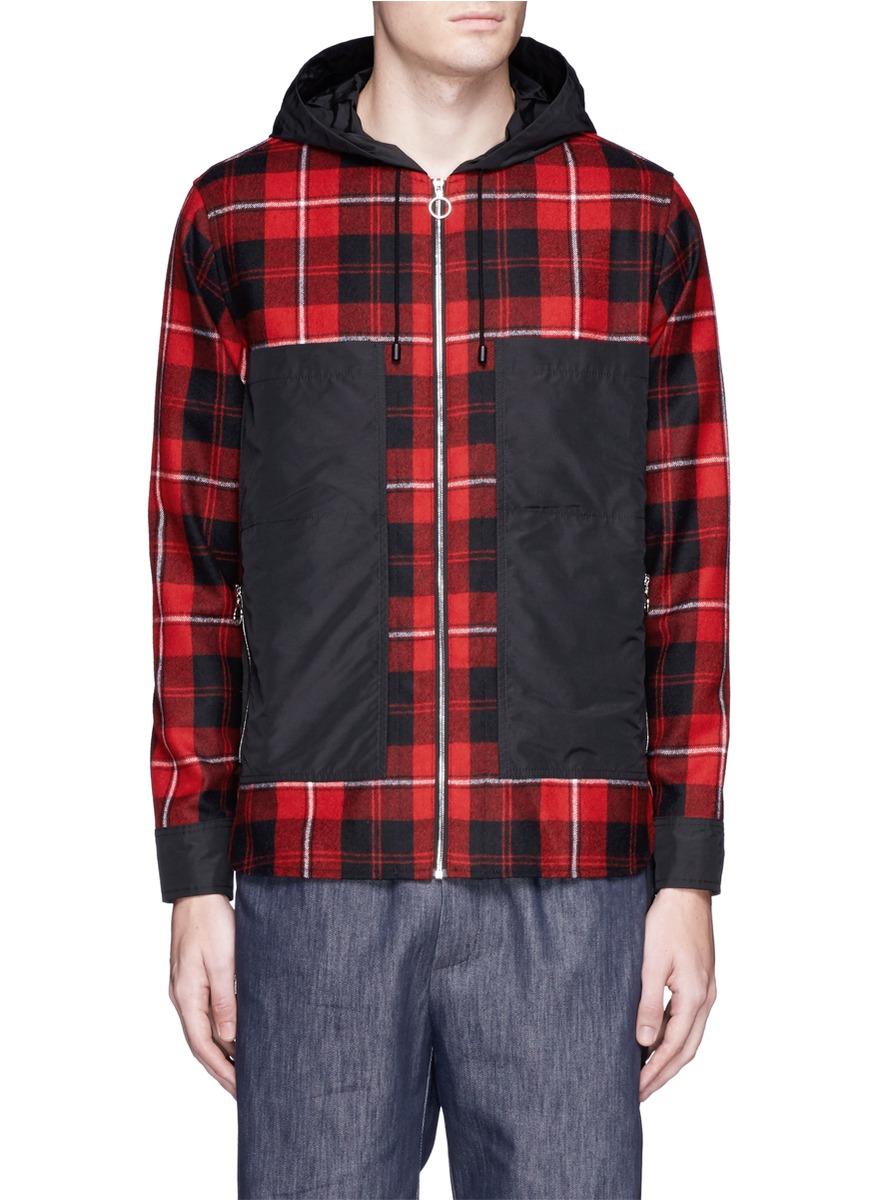 Lyst tim coppens check plaid hooded shirt jacket for men for Plaid shirt jacket mens