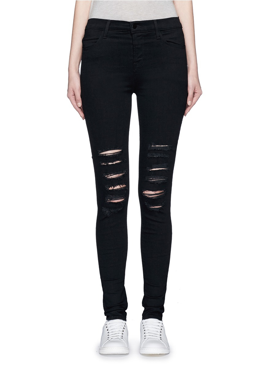 Lyst - J brand 'photo Ready Maria' Skinny Denim Pants in Black - photo #19