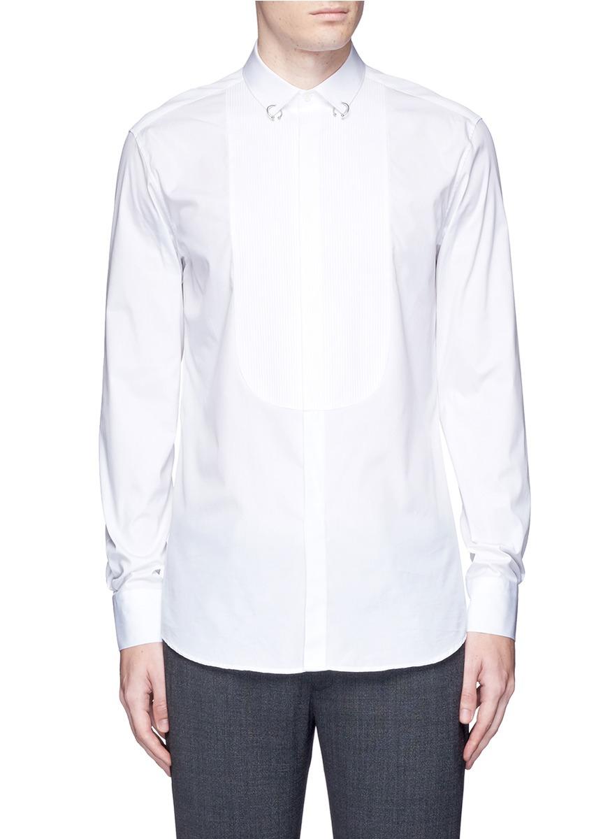 Neil barrett ring collar bib front tuxedo shirt in white for Neil barrett tuxedo shirt