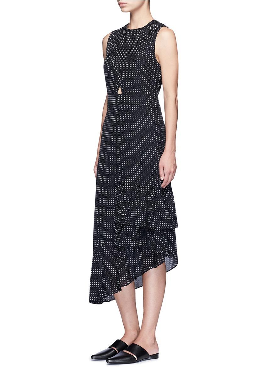 Tibi 'estrella' Star Print Asymmetric Ruffle Silk Dress