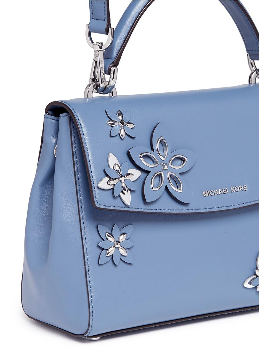 Michael Kors U0026#39;avau0026#39; Small Floral Embellished Leather Satchel In Blue | Lyst