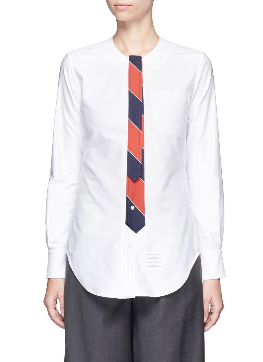 Thom browne stripe tie cotton oxford shirt in white lyst for Oxford shirt with tie