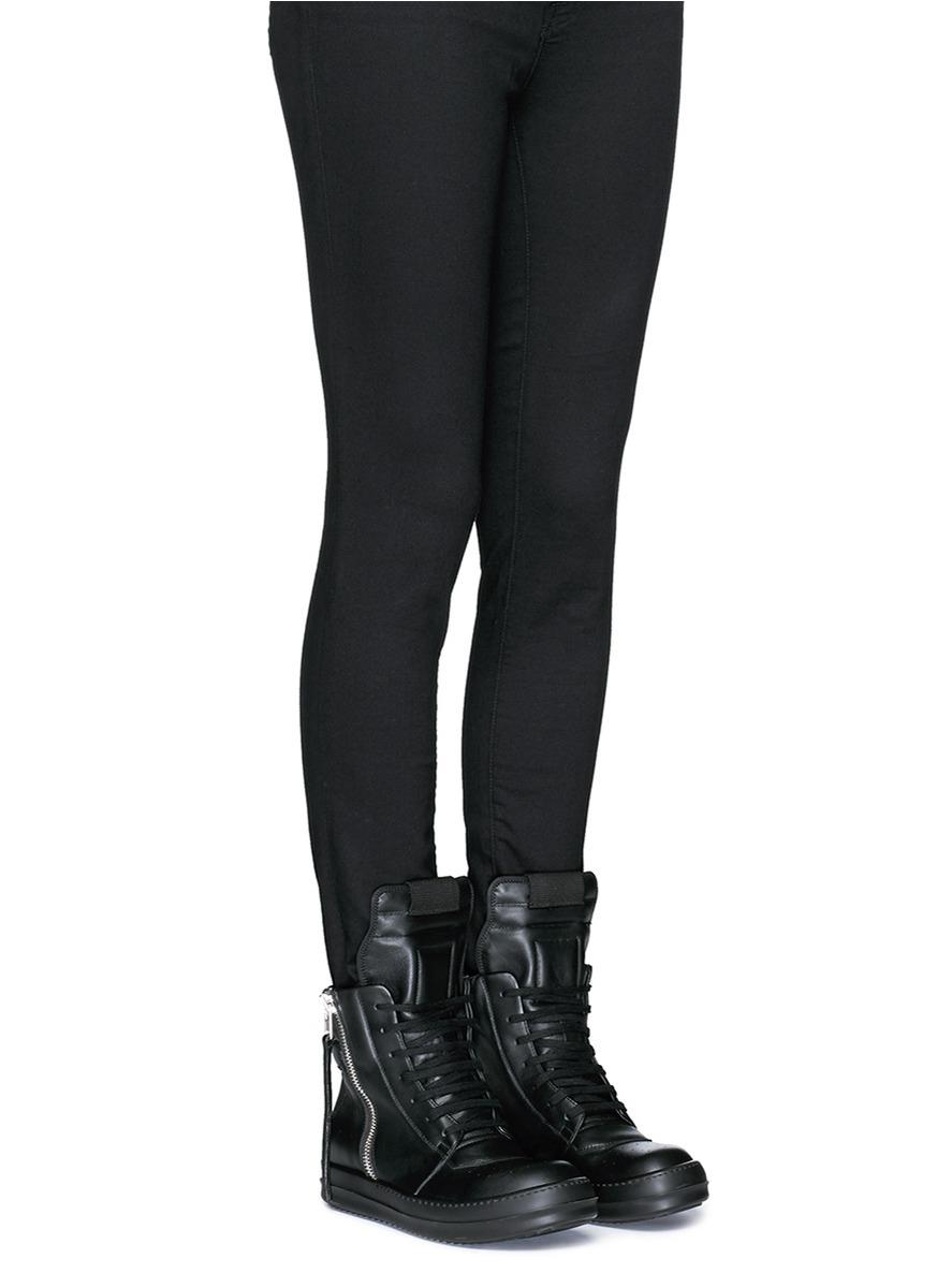 Latitude Femme Shoes Black Leather Zip Front