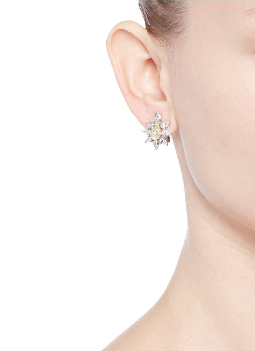 Cz by kenneth jay lane Cubic Zirconia Floral Clip Earrings ...