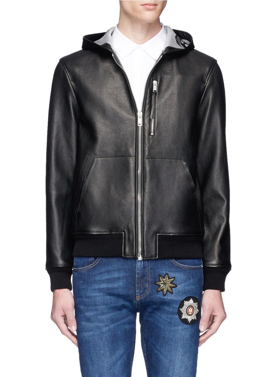 lyst alexander mcqueen lambskin leather zip hoodie in black for men. Black Bedroom Furniture Sets. Home Design Ideas