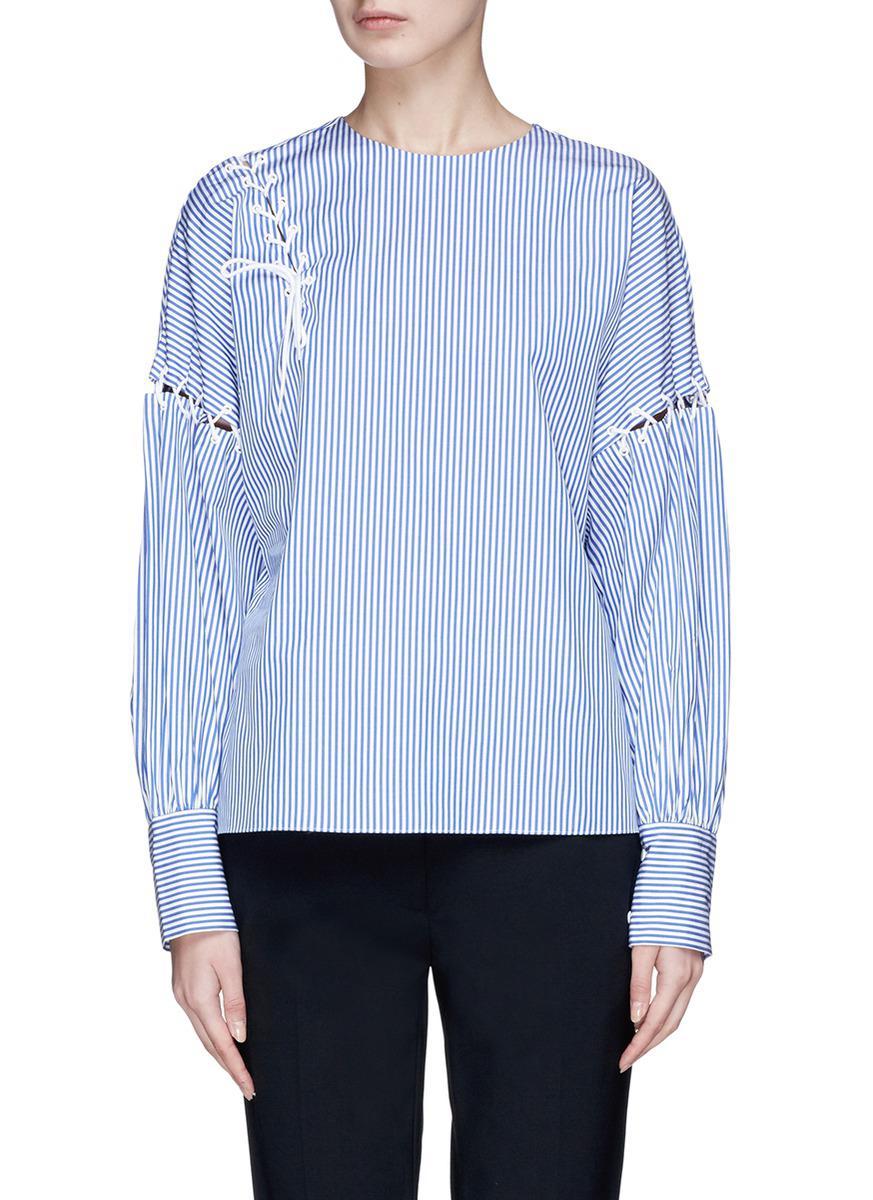 3e2452e4d455 Lyst - Tibi Lace-up Stripe Cotton Poplin Top in Blue