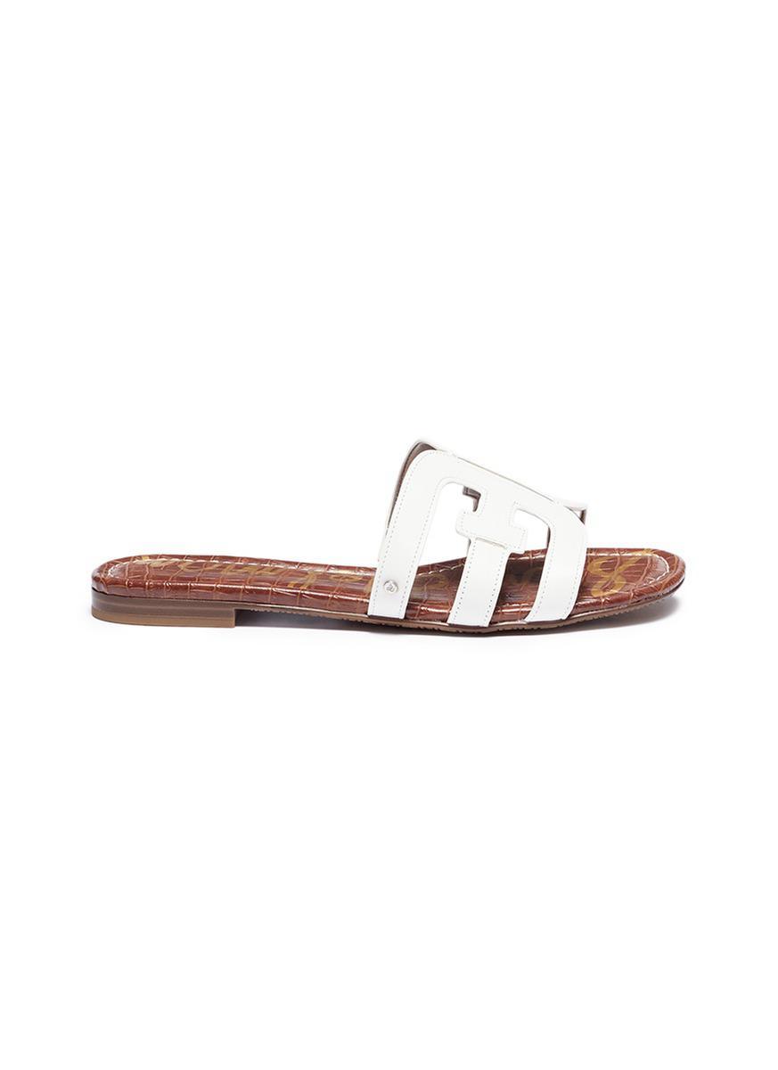 c57df29a15b3 Lyst - Sam Edelman  bay  Leather Slide Sandals in White