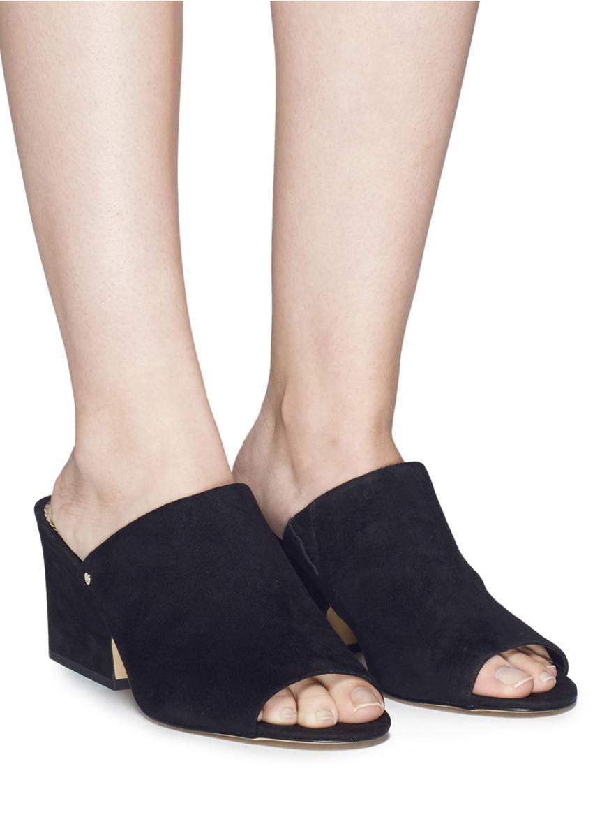 41b293cfb48d18 Lyst - Sam Edelman  rheta  Suede Mule Sandals in Black