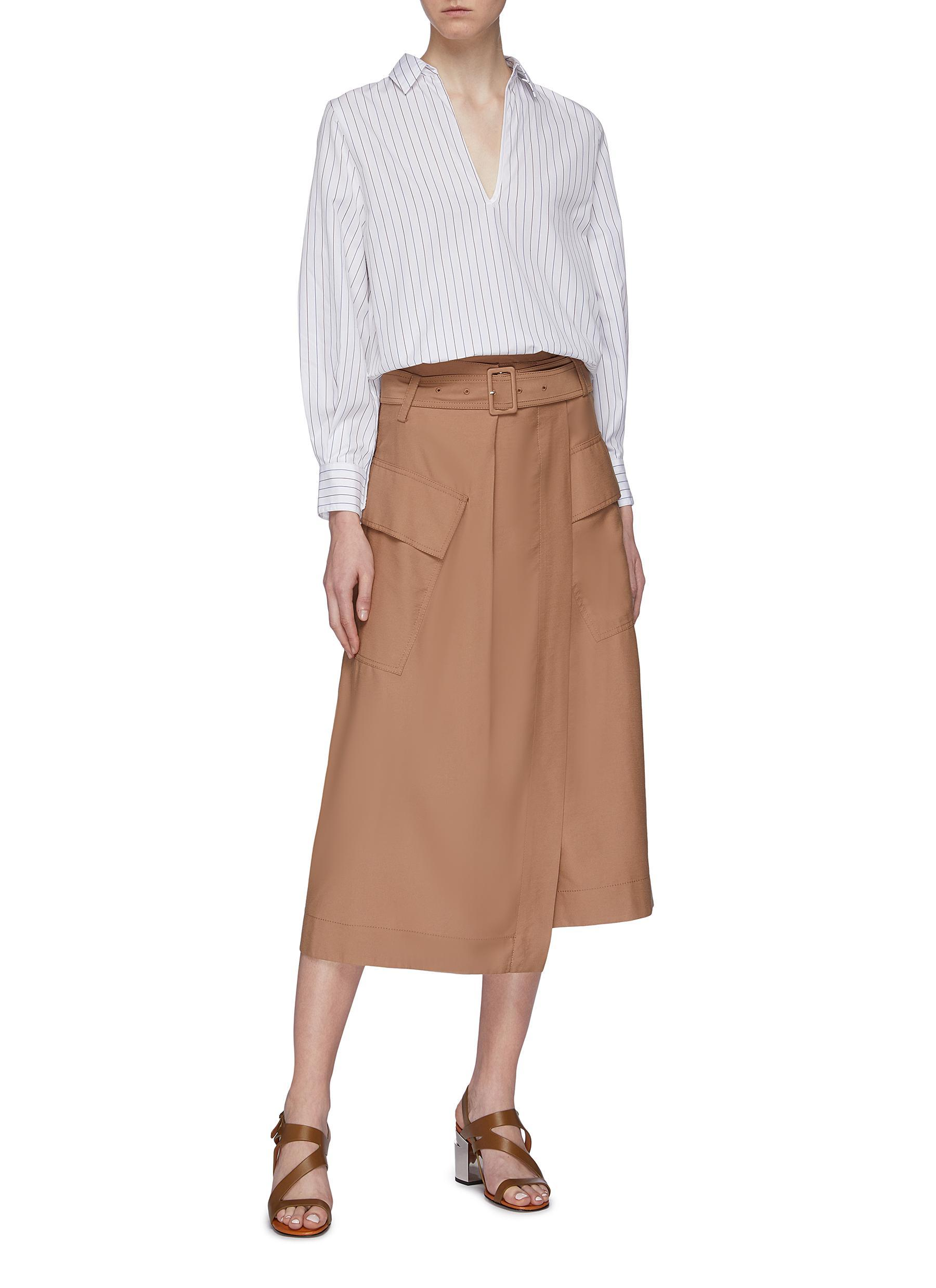 504d20ddd49 Vince Belted Cargo Pocket Wrap Utility Midi Skirt in Brown - Lyst