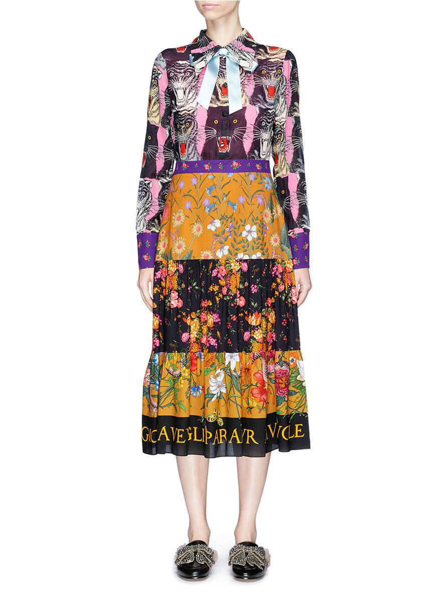 1efc7c8bc Gucci Tiger Face Patchwork Print Crepe Dress - Lyst