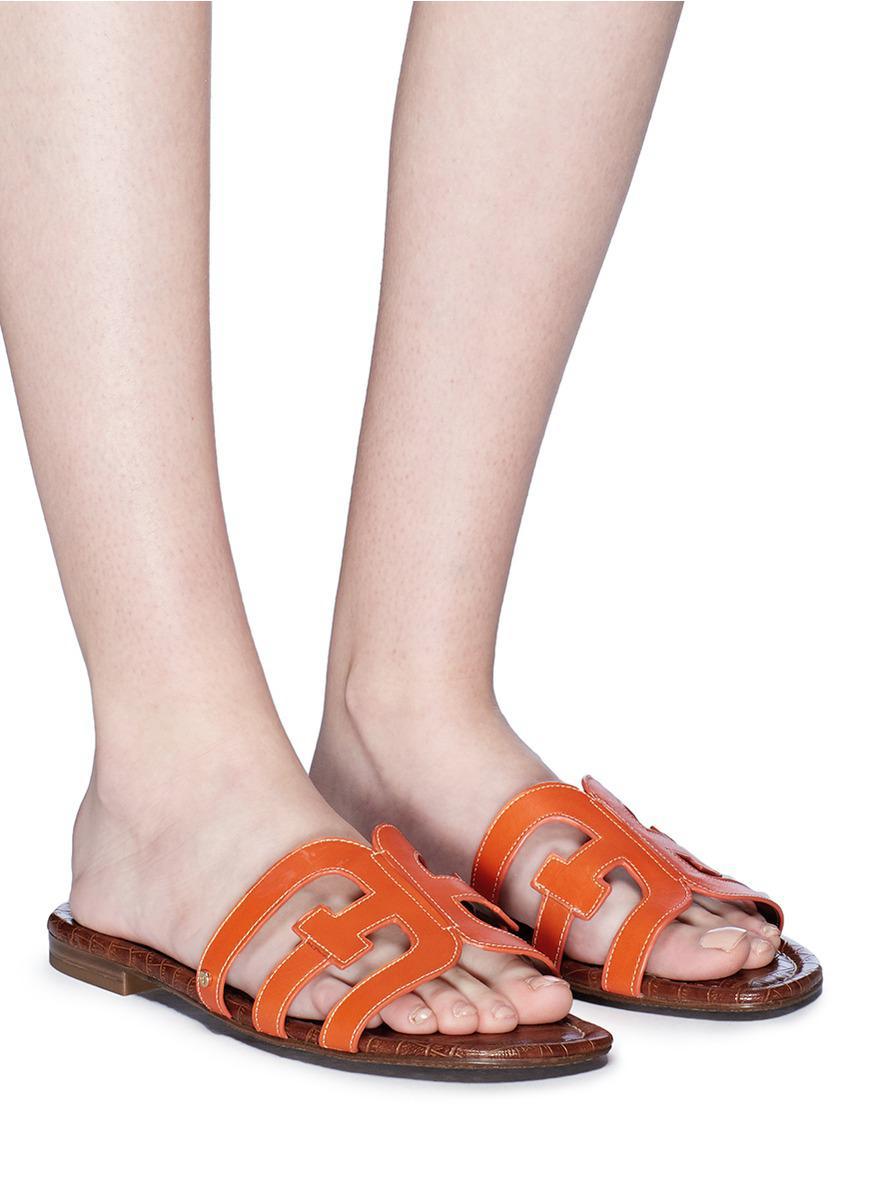 756e817eeaa3c3 Lyst - Sam Edelman  bay  Leather Slide Sandals in Orange