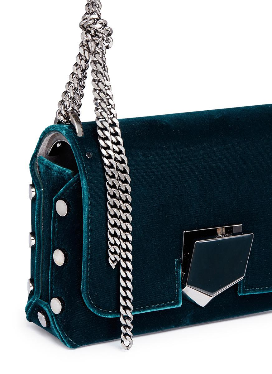 4b87b96ef0c Lyst - Jimmy Choo 'lockett Petite' Stud Velvet Crossbody Bag in Blue