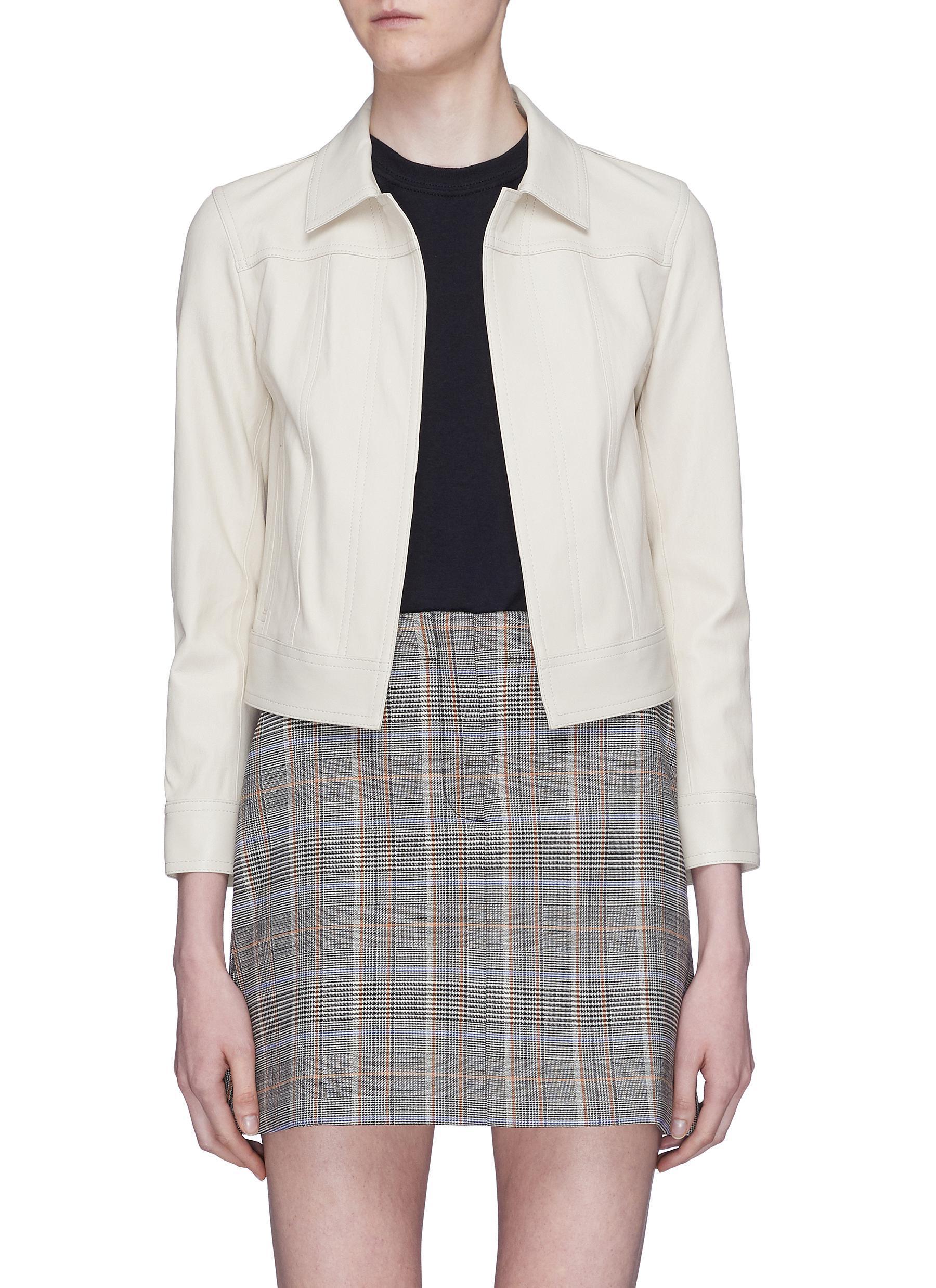 7fd8dfaa37 Theory Shrunken Leather Jacket in White - Lyst