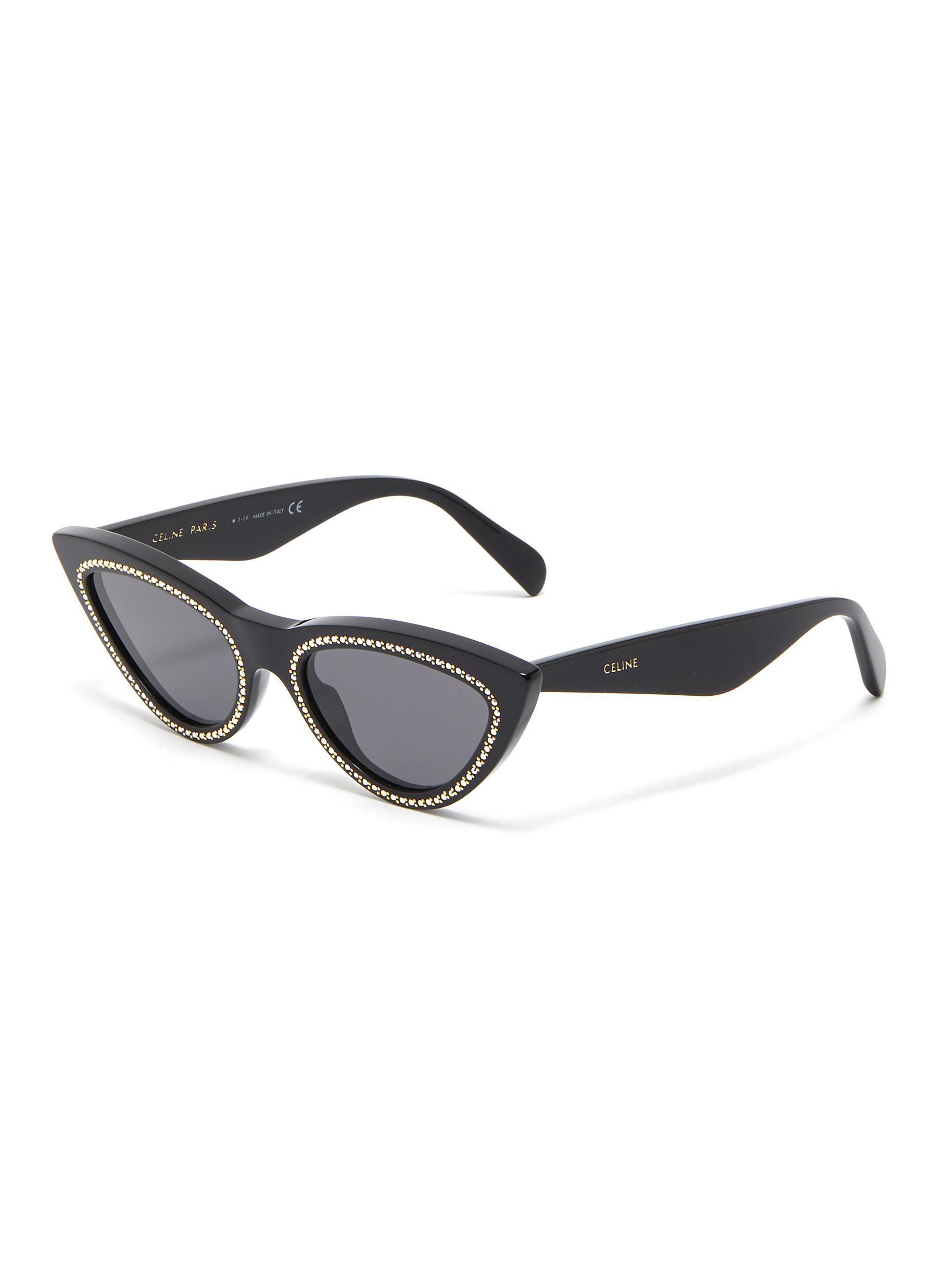 d7a66af3194d Lyst - Céline Strass Rim Acetate Cat Eye Sunglasses in Black