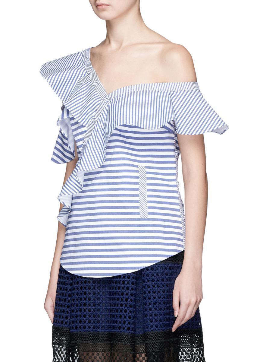 cdfc58063ec2 Self-Portrait Asymmetric Frill Stripe One-shoulder Top in Blue - Lyst