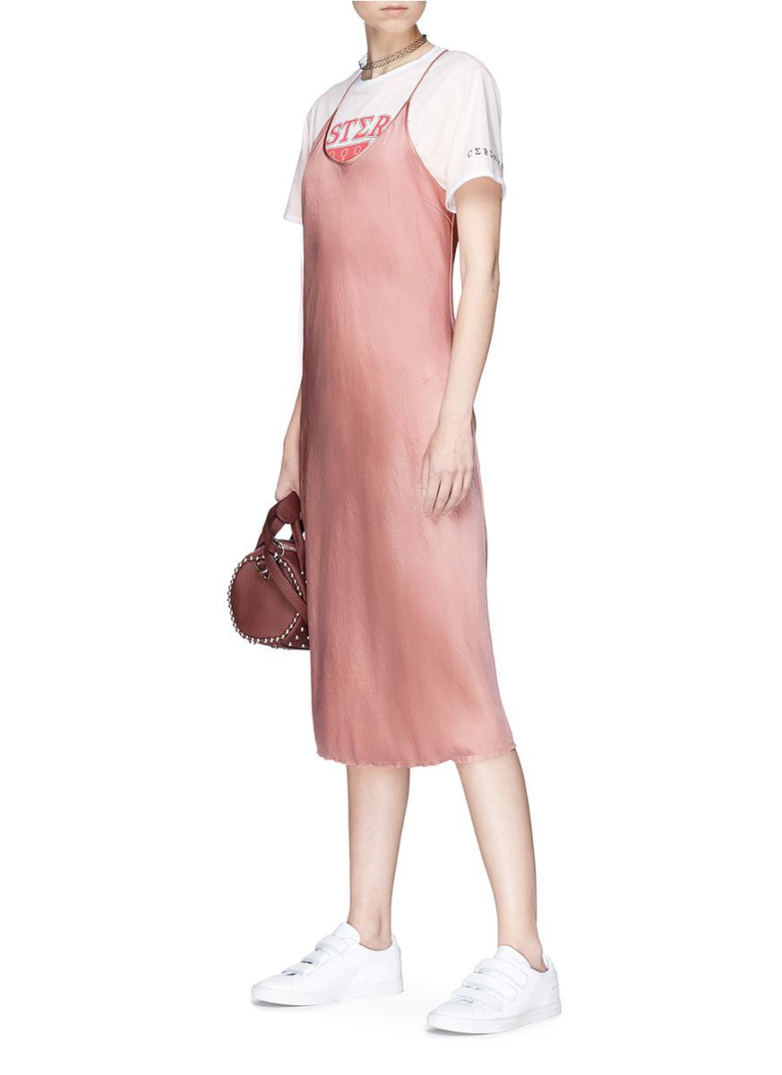 934e46abe885 T By Alexander Wang 'wash & Go' Racerback Satin Slip Dress in Pink ...