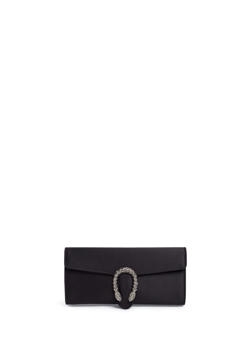 cbfc88595c86 Gucci 'dionysus' Buckle Satin Clutch in Black - Lyst