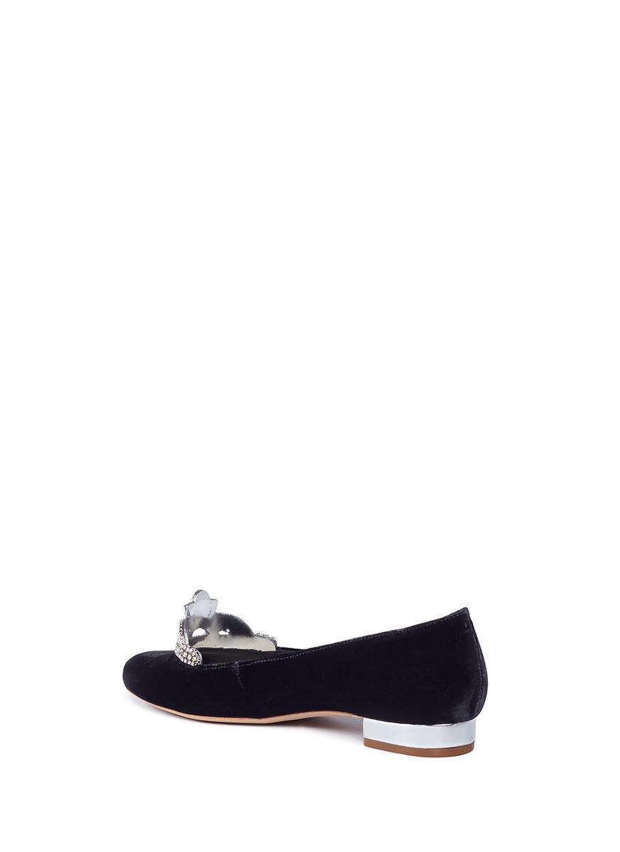 Sophia Webster Black Velvet Kitty Flats