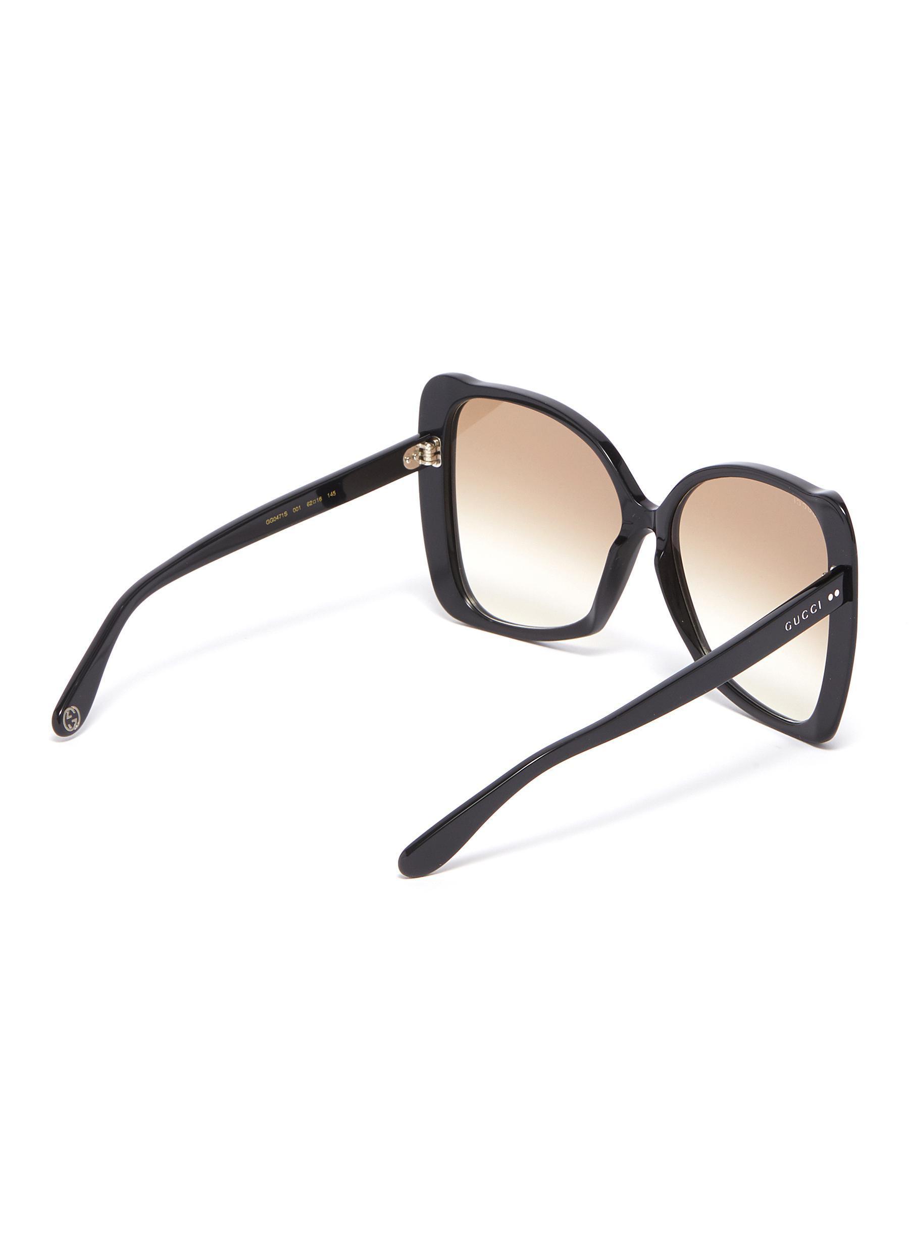 b0e1a9c66ba Gucci - Black Oversized Acetate Butterfly Sunglasses - Lyst. View fullscreen