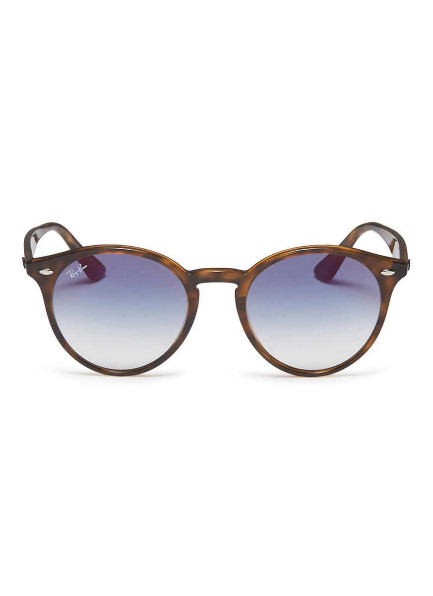 98a632dd48 Ray-Ban  rb2180f  Tortoiseshell Acetate Round Sunglasses in Brown - Lyst