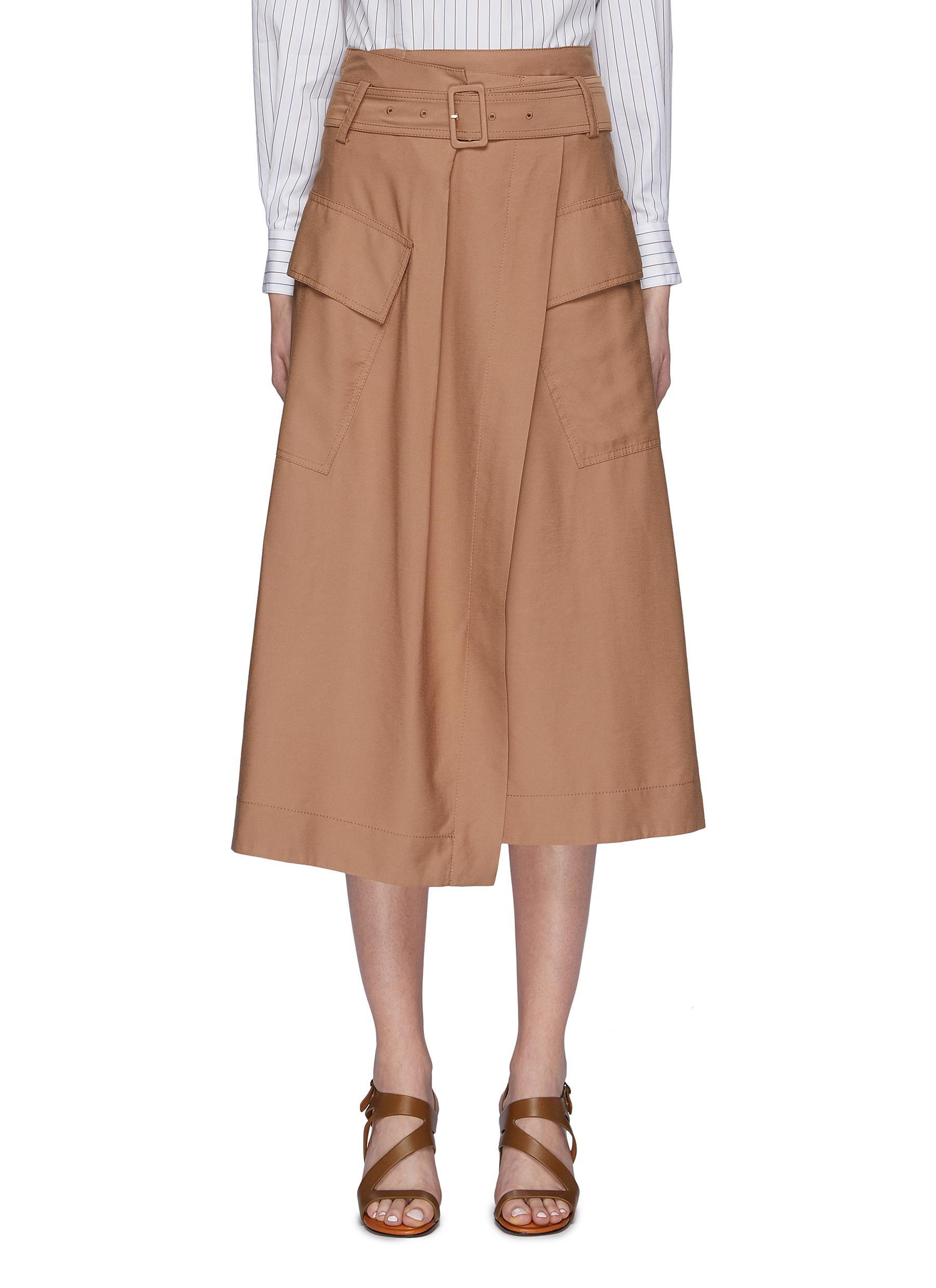 786ca9d04a Vince Belted Cargo Pocket Wrap Utility Midi Skirt in Brown - Lyst