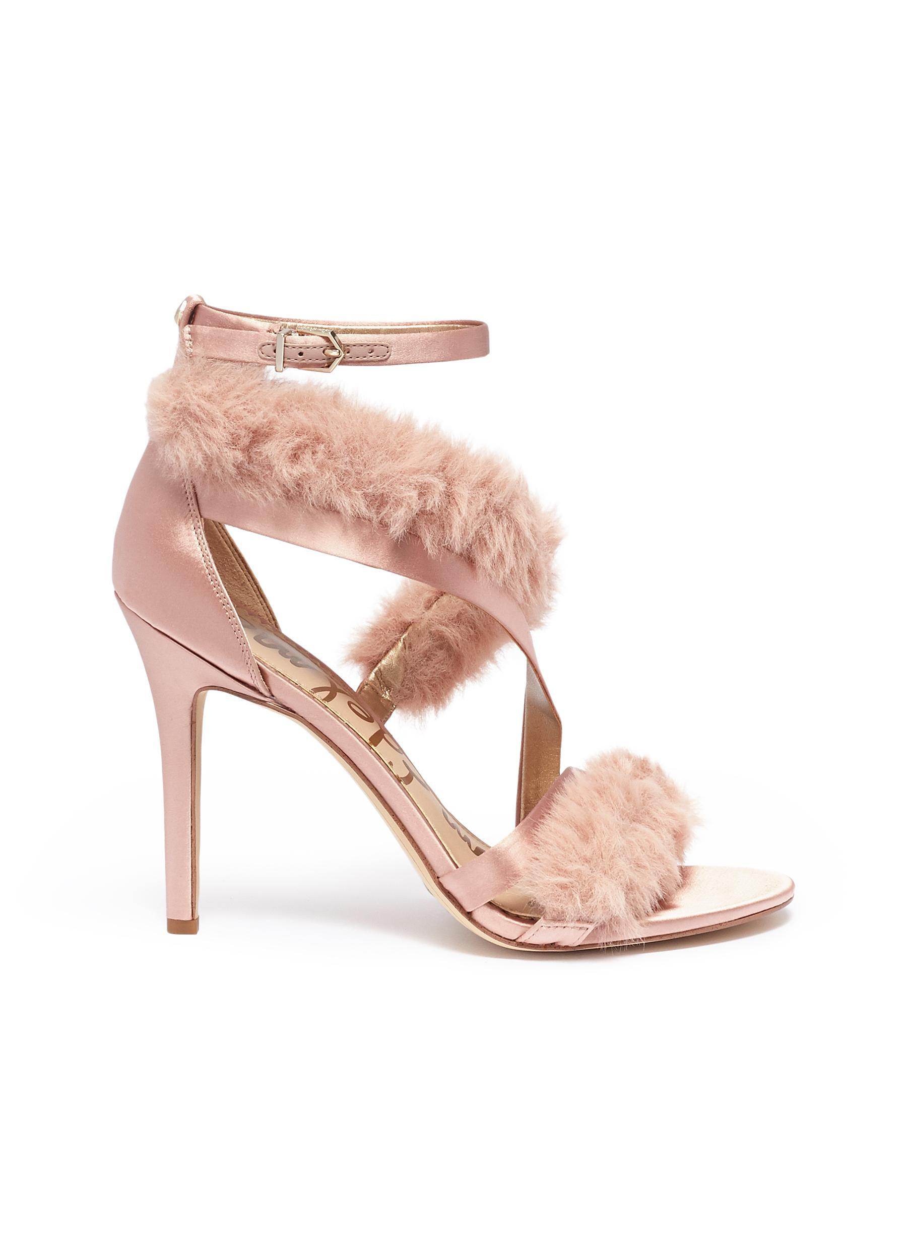 d4230ae97114 Lyst - Sam Edelman  adelle  Faux Fur Strappy Satin Sandals in Pink