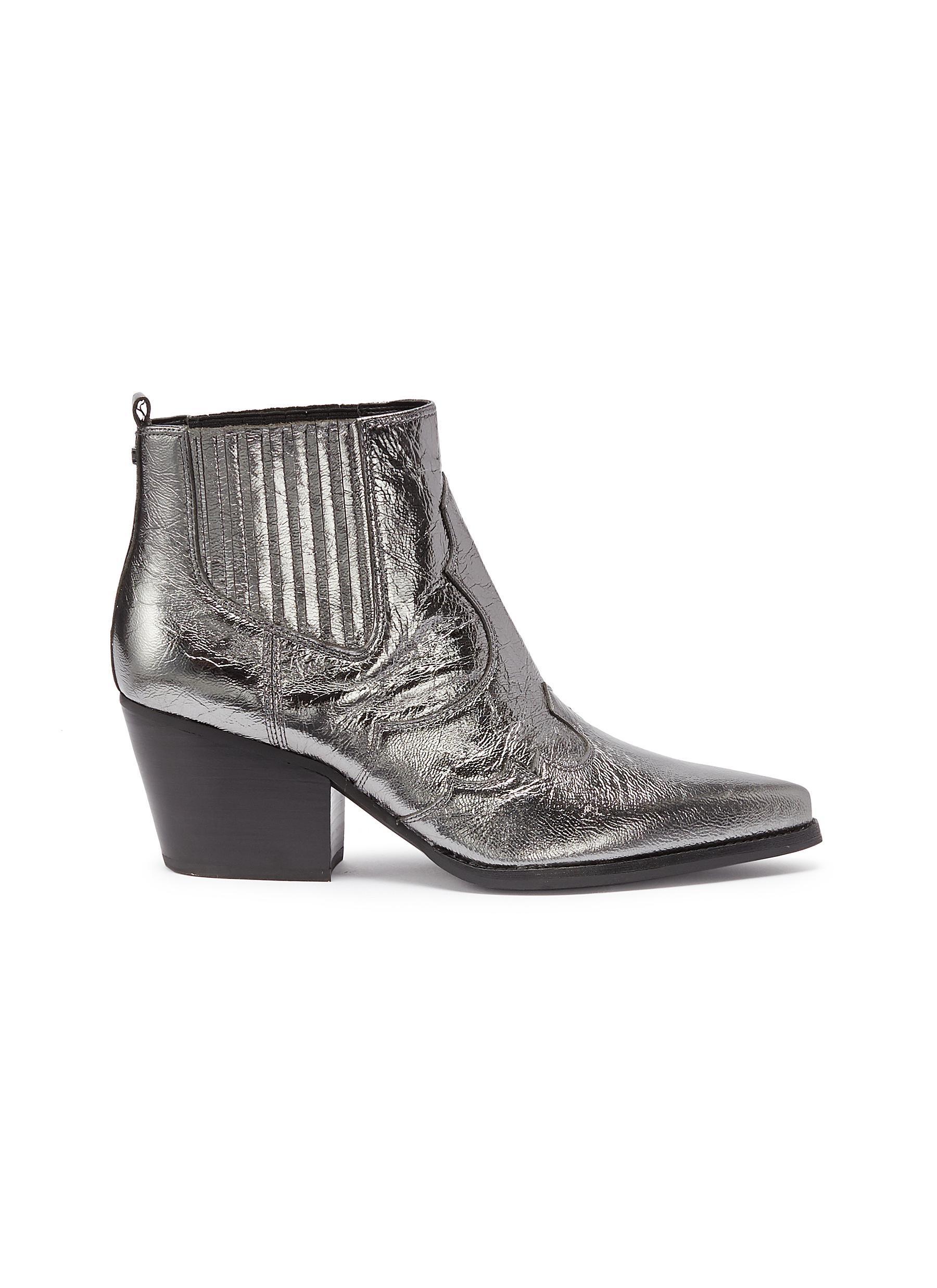 85ba8d7f9fb3df Sam Edelman Metallic-leather Cowboy Boots in Metallic - Save 68% - Lyst