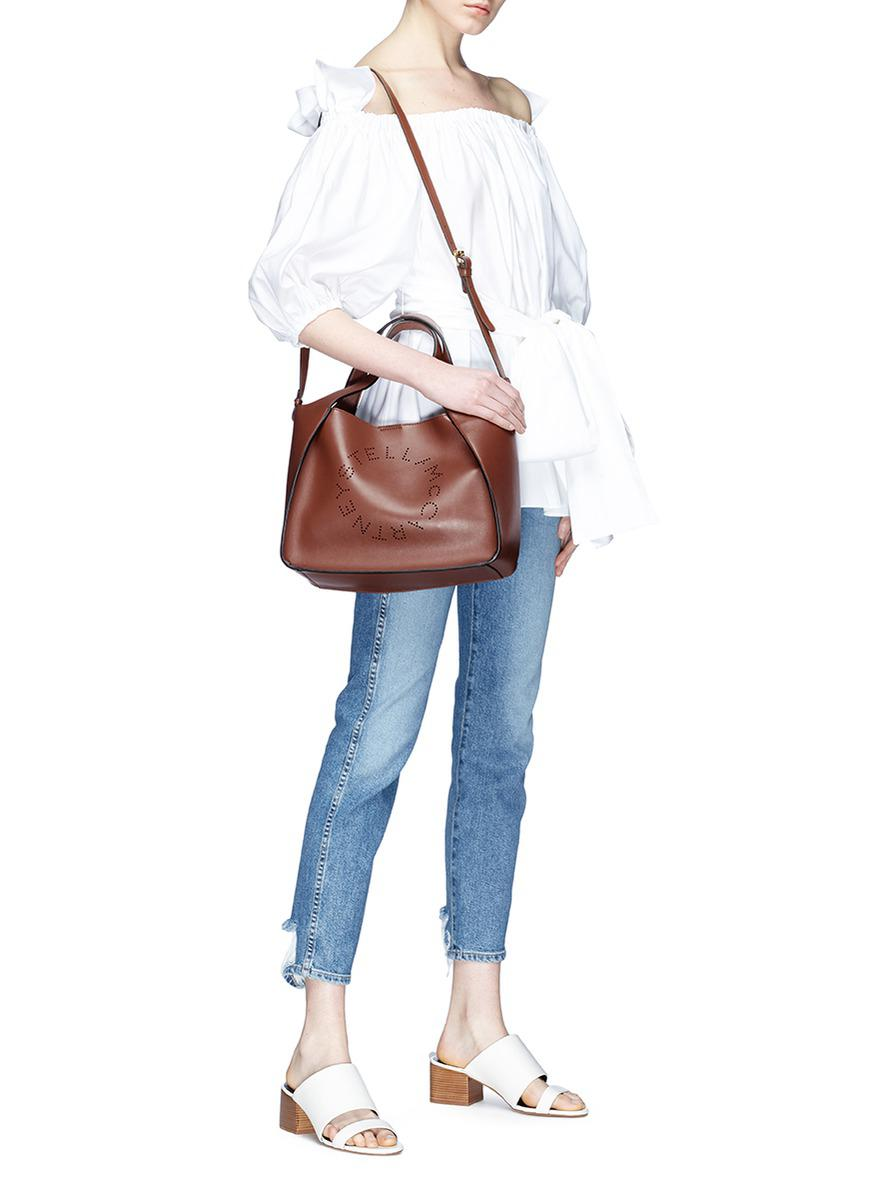 5a720db0d7e3 Lyst - Stella McCartney  stella  Perforated Logo Tote Bag in Brown